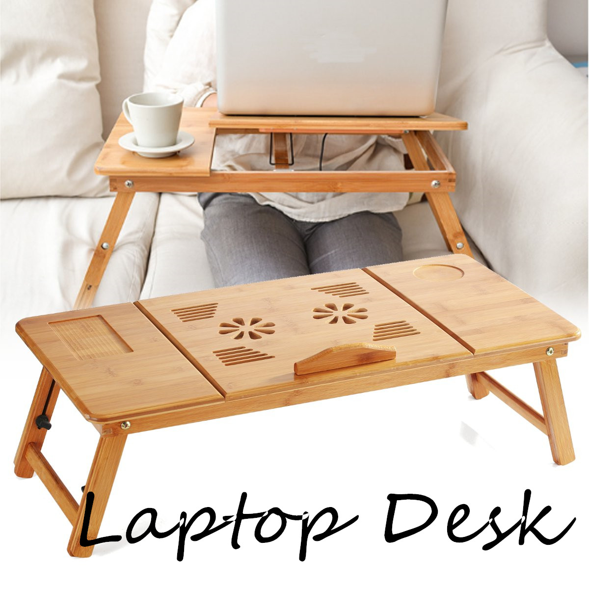 Adjustable Simple Computer Desk Bamboo Rack Shelf Bamboo Laptop Table Portable Dormitory Bed Laptop Stand Book Tray Stand Table