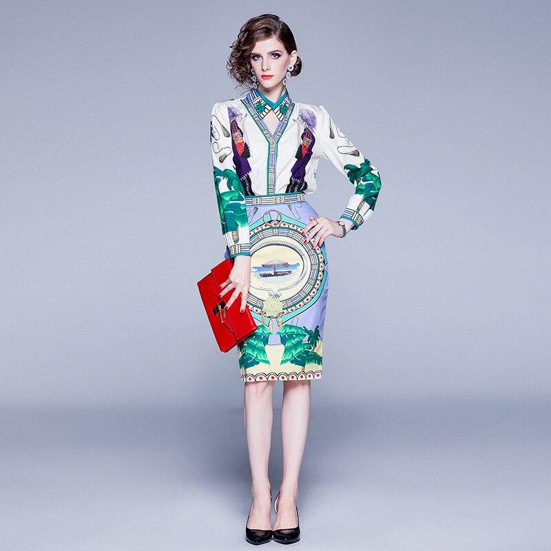 Photo Shoot 2019 Autumn Two-Piece Set Fold-down Collar Long-sleeved Shirt Tops Sheath Medium-length Skirt Printed Set