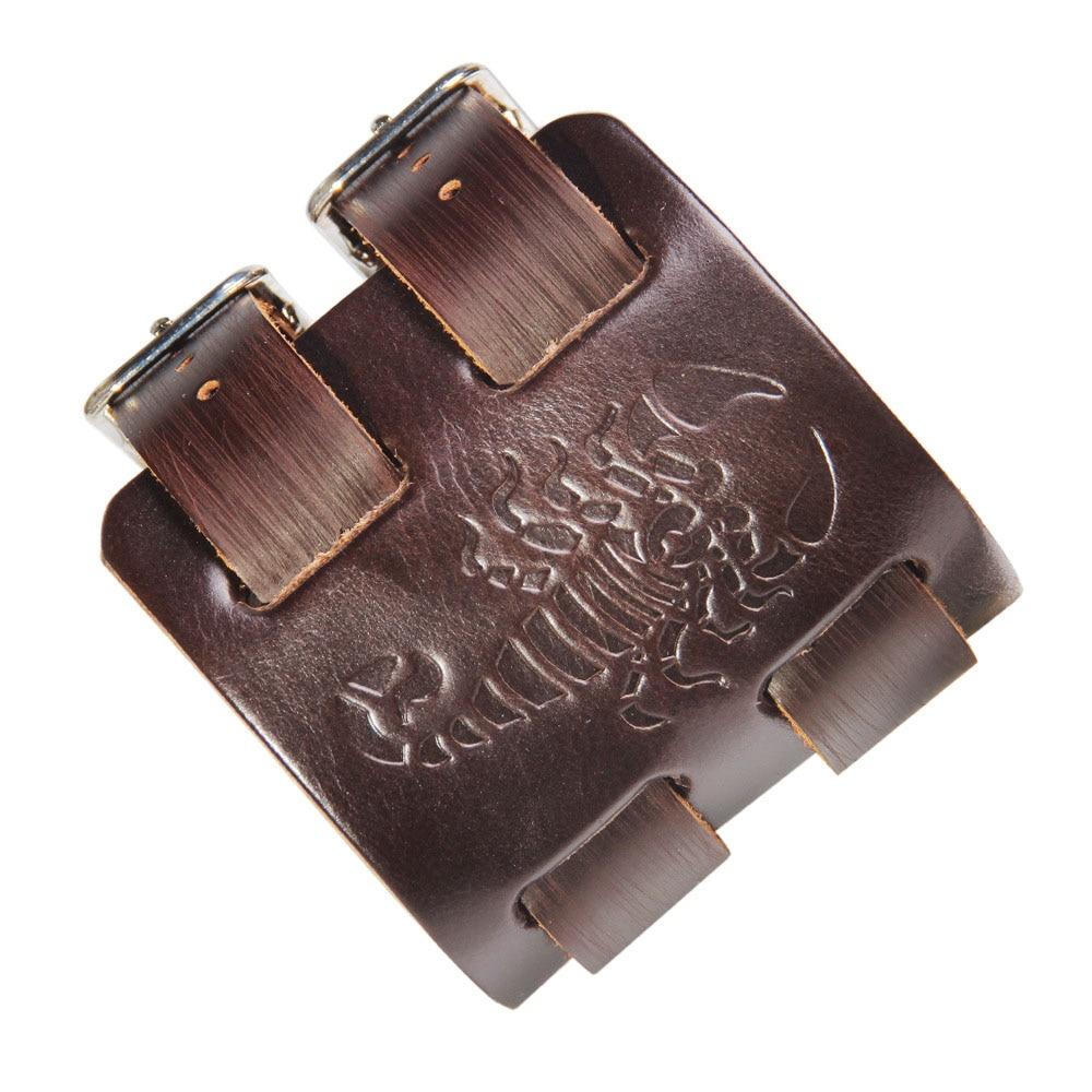 Kirykle-Bracelet manchette en cuir pour hommes, Bracelet tête de loup, ceinture large, idées cadeaux pour frère, papa, petit ami et mari (loup brun) 2