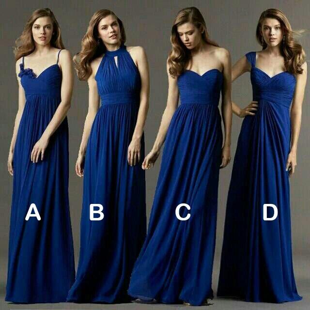 Royal Blue Long Group Bridesmaid Dresses Chiffon V-neck Sleeveless Women Formal Dress Wedding Party Gowns Vestido Dama De Honor