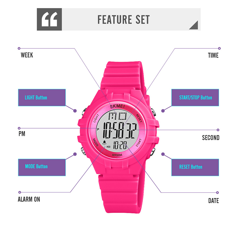 SKMEI LED Digital Kids Часы Мальчики Девочки Мягкие Pu Ремешок Мода Ударопрочный Водонепроницаемый Дети% E2% 80% 99s Электронные Часы 1716