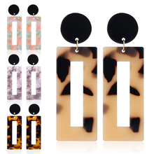 Vintage Leopard Print Acrylic Drop Earrings For Women Acetic Acid Dangle Earring Fashion Geometric Square Resin Female Jewelry