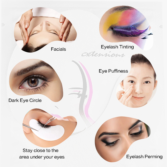 25/50/100 Pairs/Lot Patches for Eyelash Extension Under Eye Pads Paper Patches Pink Lint free Stickers for False Eyelashes 2