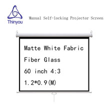 Thinyou Projector screen 60 inch 4:3 Matte White Fabric Fiber Glass  Pull Down Manual 3D Screen With Auto Self-Lock Suit