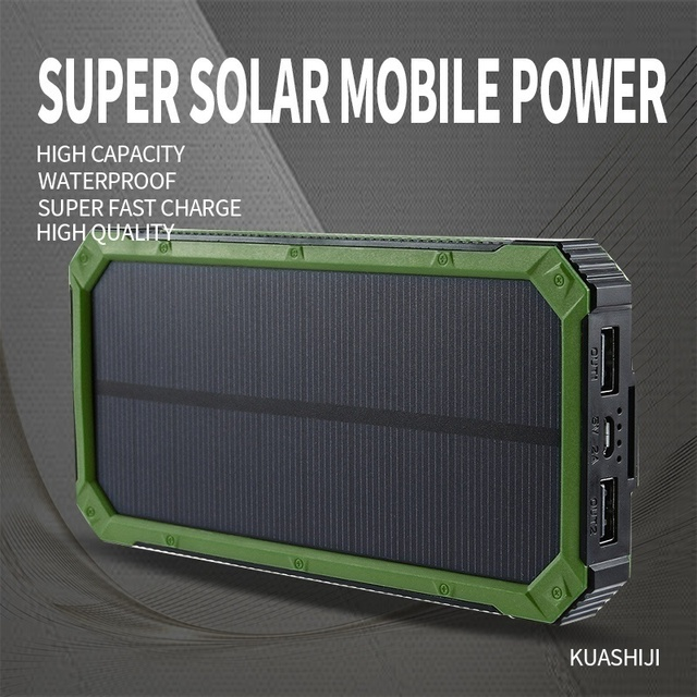 Huge Capacity Solar Power Bank 30000mAh Dual-USB Waterproof Solar Power Bank Battery Charger For All Phone Iphone Huawei Xiaomi 6
