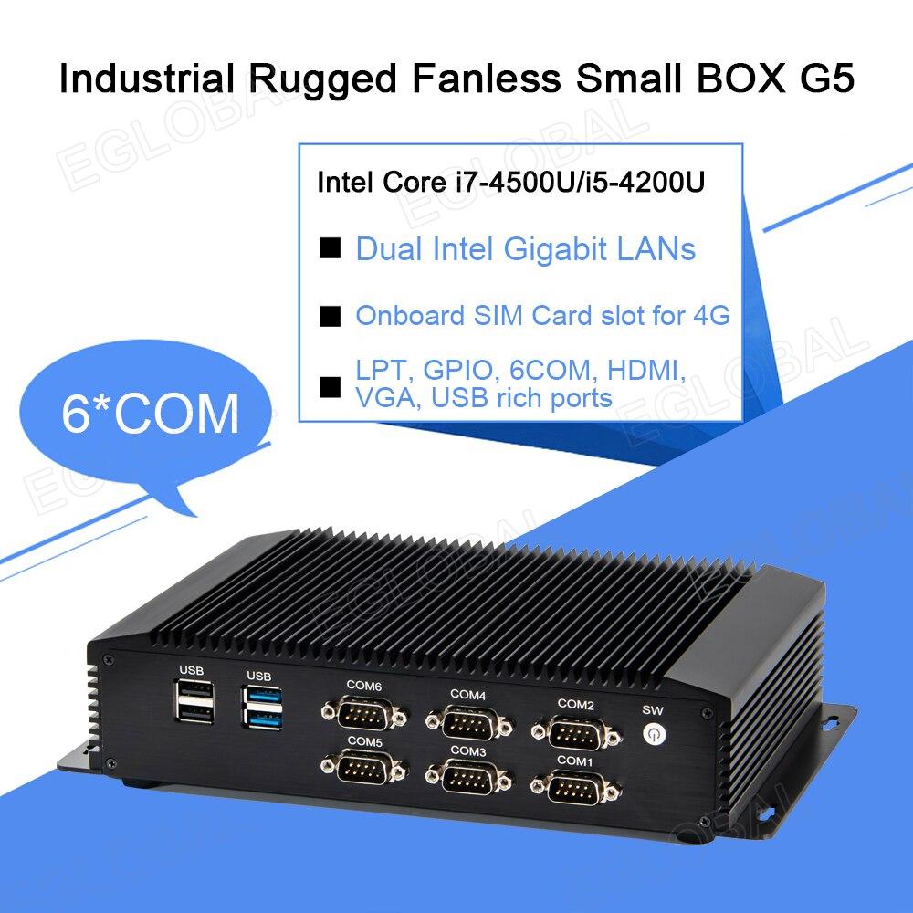 Cheapest Industrial Mini PC Intel Core I5 4200U I7 4500U Desktop Computer 6 COM GPIO LPT HDMI VGA 2 LAN 4G Module Rugged Box