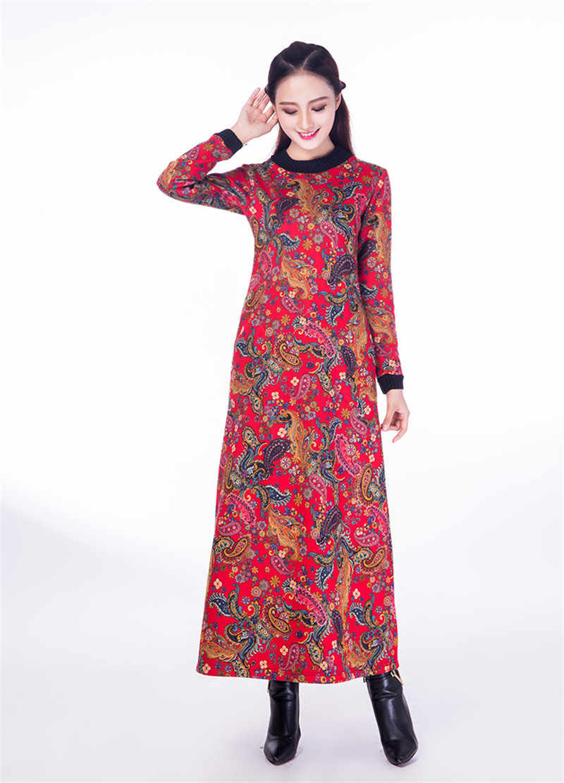 נשים בציר ארוך הדפס פרחוני שמלת עממי ארוך שרוול עבה סתיו חורף שמלות Slim מזדמן Vestidos בתוספת גודל WXF619