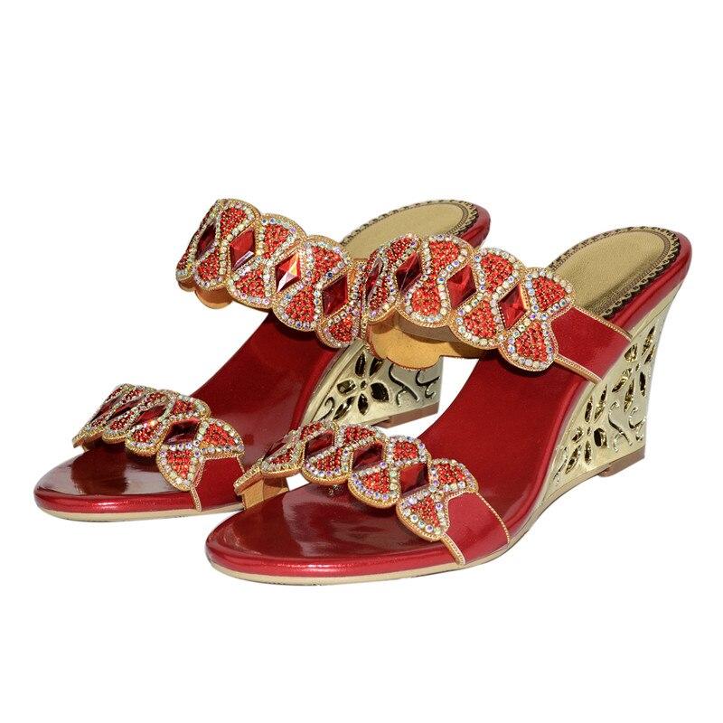 Christia Bella mujer Sexy tacones altos diamantes de imitación sandalias de fiesta Formal boda hebilla zapatos dedo del pie abierto nuevo tacones de cuña zapatillas - 3