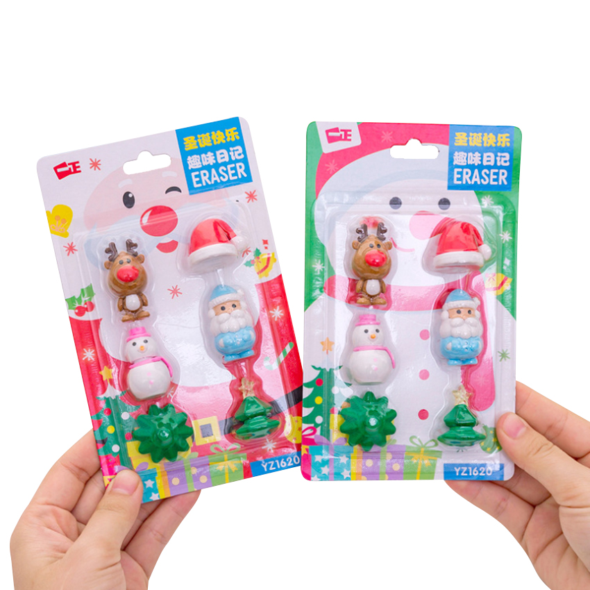 8set/lot Kawaii Three-dimensional Cute Christmas Rubber Set For Child Creative Gift Student Stationery