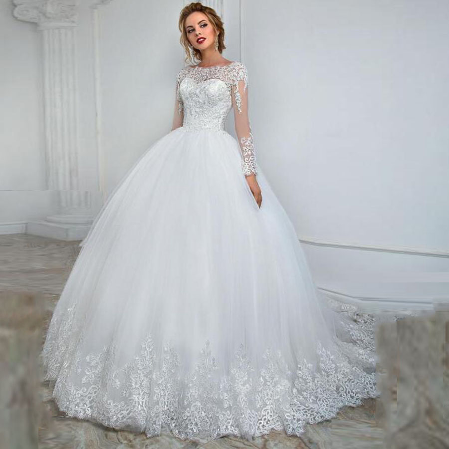 Elegant Boat Neckline Long Sleeve Ball Gown Wedding Dress With Lace Applique Beading Backless Lace-up Applique Edge Bridal Dress