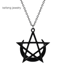 Crescent Moon Star Necklace Wicca Mystic Gothic Pentagram Jewelry for Women Men Black Witchcraf Pendants Metal Gift