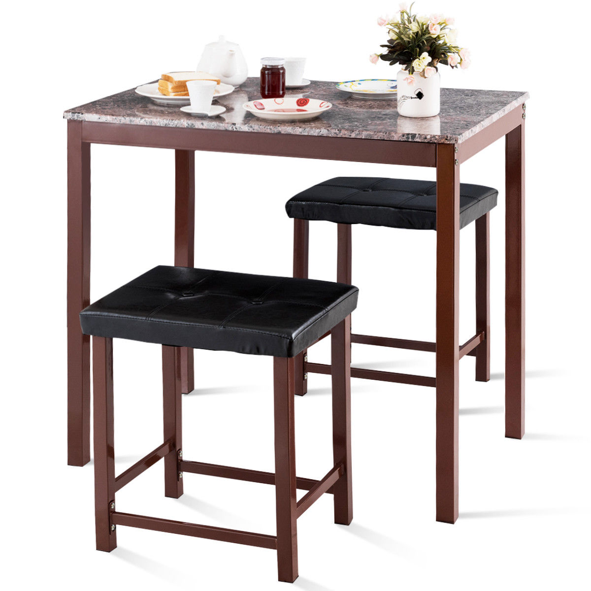 Costway 3 шт счетчик высоты обеденный набор из искусственного мрамора стол 2 стула Кухня Бар Мебель