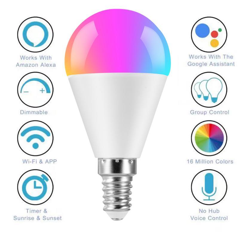 New 6W E14 E26 E27 B22 WIFI Smart Light Bulb LED RGB Lamp Smart Life APP Operate Voice Control Work With Alexa Google Home