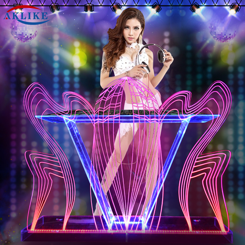 Table Dj Facade Booth Podium Aklike Video Luces Dj Baratos Mixer Controller Acrylic Dj Furniture  Lights Desk Customized Logo