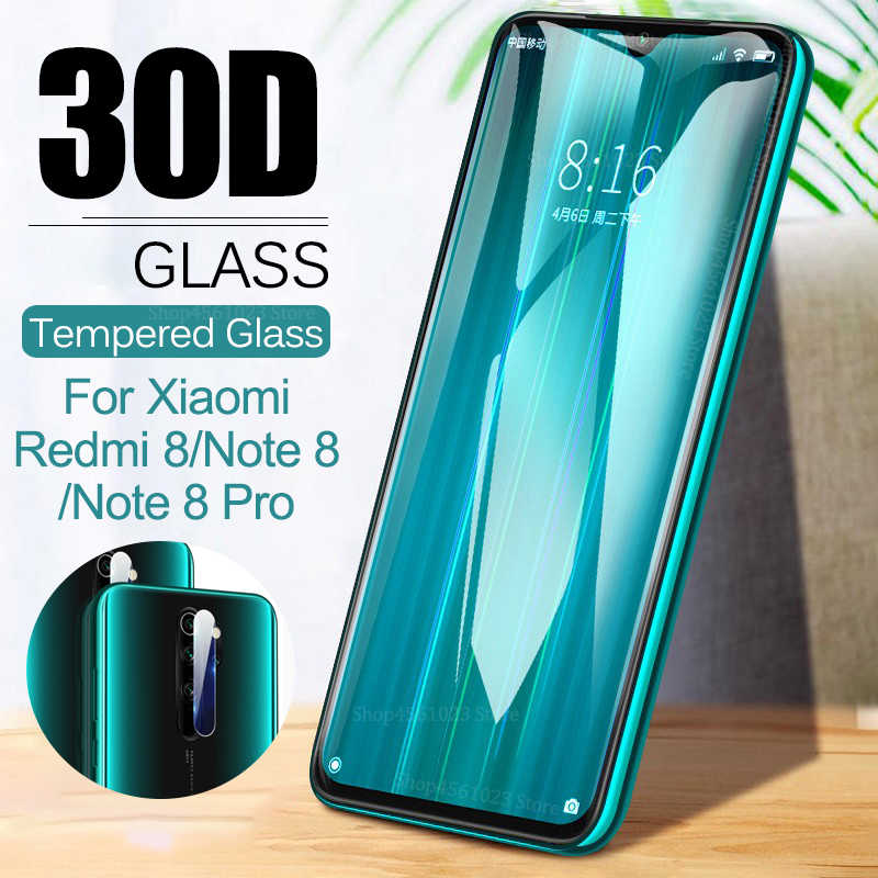 2in1 Pelindung Layar Anti Gores untuk Xiaomi Redmi Note 8 Pro 8Pro Lensa Kamera Film untuk Xiaomi 8 Lite 8 lite Kaca Pelindung