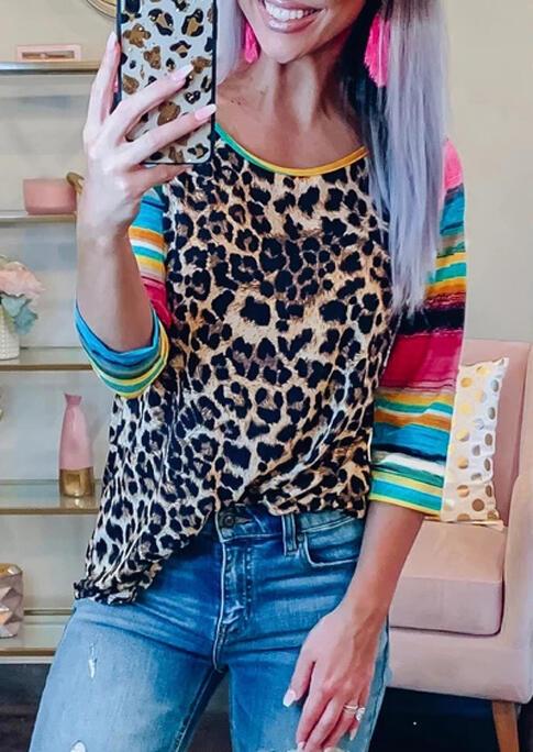 Female Leopard Printed Neon Splicing Tee Shirt Women Three Quarter Long Sleeve T-shirt Ladies Harajuku Ulzzang Girl Top Tee