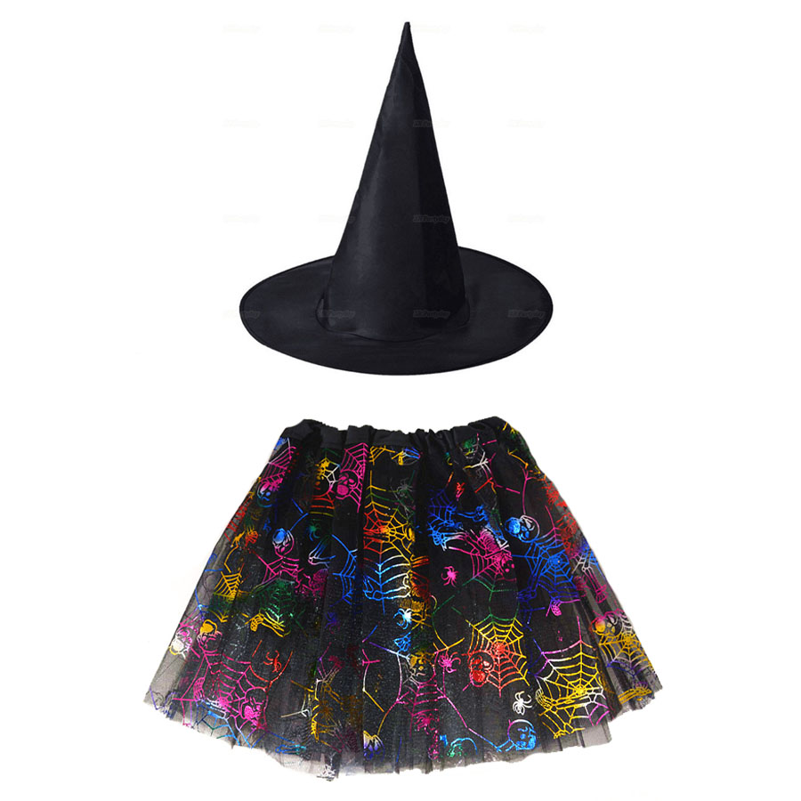 Kids Girl Spider Web Tutu Cobweb Skirt Witch Wizard Costume Hat Tulle Carnival Birthday Party Outfit Carnival Halloween Costume 2