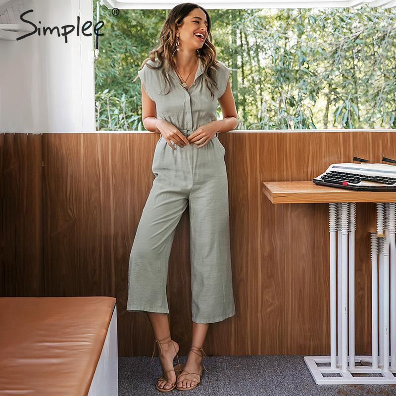 Simplee V-neck Women Jumpsuit Romper Elegant Sash Belt Female Long Jumpsuit Casual Streetwear Solid Office Ladies Jumpsuit