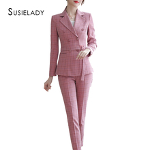 SUSIELADY Women's Blazer Pantsuits Plaid Office La