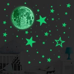 435pcs Luminous Moon Star Dot Wall Stickers Creative Fluorescent Wall Stickers Environmental Removable Interior Decoration