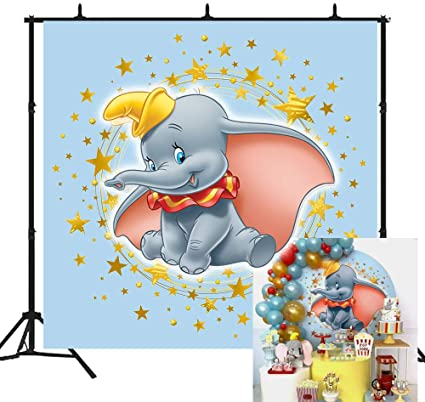 Дамбо фон для фотографирования синего цвета для мальчиков с изображением слона Baby Shower День рождения баннер конфеты Десерт Таблица виниловы...