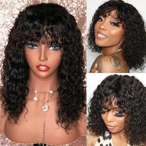 Image 1 - 180% perruque courte brésilienne noire naturelle de Bob de Remy de perruques de cheveux humains avant de dentelle bouclée avec la frange 13*4 sans colle pré plumée 8  18