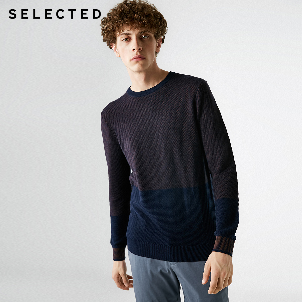 SELECTED Men's new cotton collar round color long sleeve sweater S |418324530
