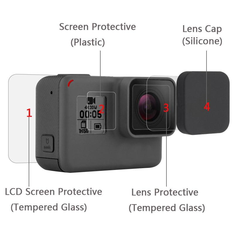 New Tempered Glass Protector Cover Case For Go Pro Gopro Hero 5 6 7 Hero5 Hero6 Hero7 Camera Lens Cap LCD Screen Protective Film 1