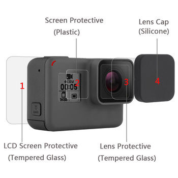 New Tempered Glass Protector Cover Case For Go Pro Gopro Hero 5 6 7 Hero5 Hero6 Hero7 Camera Lens Cap LCD Screen Protective Film 1