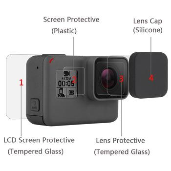 Nowy hartowane szkło ochronne pokrywy skrzynka dla Go Pro Gopro Hero 5 6 7 Hero5 Hero6 Hero7 osłona na obiektyw aparatu LCD folia ochronna na ekran tanie i dobre opinie NEELU 0071 CN (pochodzenie) Akcesoria Zestaw Zestaw