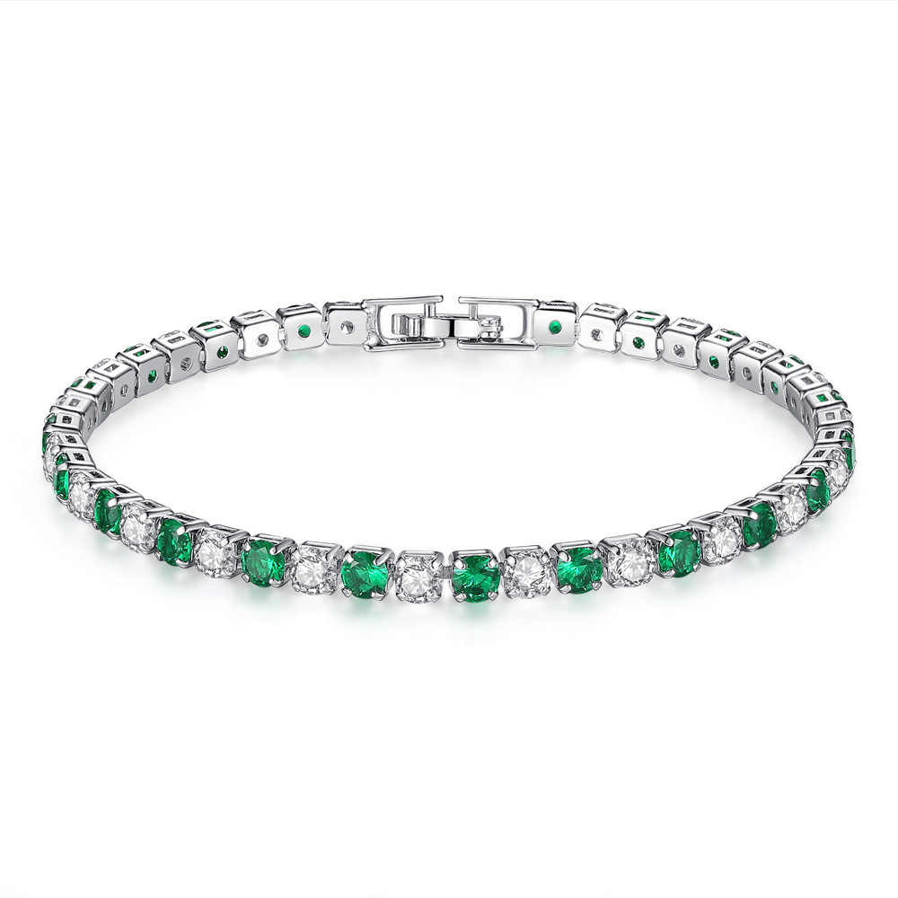 VOHE Natural Green Emerald Wedding Bracelet Solid White Gold Sparkly Diamond Jewelry for Women Christmas