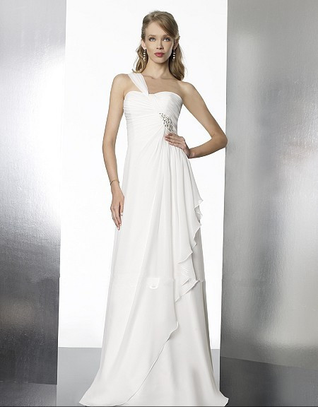 free shipping 2018 new hot custom size/color Grecian chiffon beaded one shoulder white/ivory bridal gown bridesmaid dresses