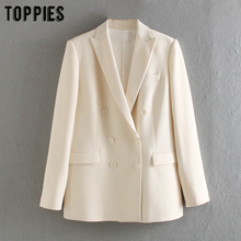 White Blazer Jackets Formal-Suit Toppies Double-Breasted Women Ladies Summer