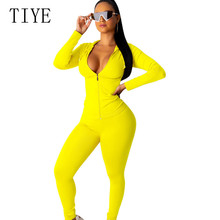 TIYE Plus Size XXL Women 2 Pieces Sets Casual High Streetwear Jumpsuits New Fashion Hooded Zipper Long Sleeve Pockets Playsuits
