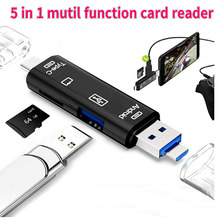 SD Card Reader, 5 in 1 USB/Type C/Micro USB OTG Reader Adapter, USB 3.0 Multi-Function Card Reader for Android phone Computer