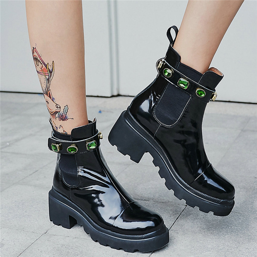 Punk Goth Creepers Women Genuine Leather Chunky High Heels Round Toe Military Riding Boots Lady HIgh Top Platform Pumps Shoes