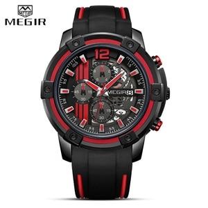 Image 2 - Relojes 2020 MEGIR zegarek męski luksusowy chronograf silikonowy wodoodporny Sport wojskowy męskie zegarki analogowy kwarcowy Relogio Masculino