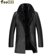 Boollili Fashion Black Men Genuine Leather Jacket Men Thick Sable Fur Collar Sheepskin Leather Jacket Down Winter Coat Men 2020 cheap COTTON Wool REGULAR Thick (Winter) Men s Leather Jacket Broadcloth Single breasted NONE Slim Button Solid Long 1 3KG Casual