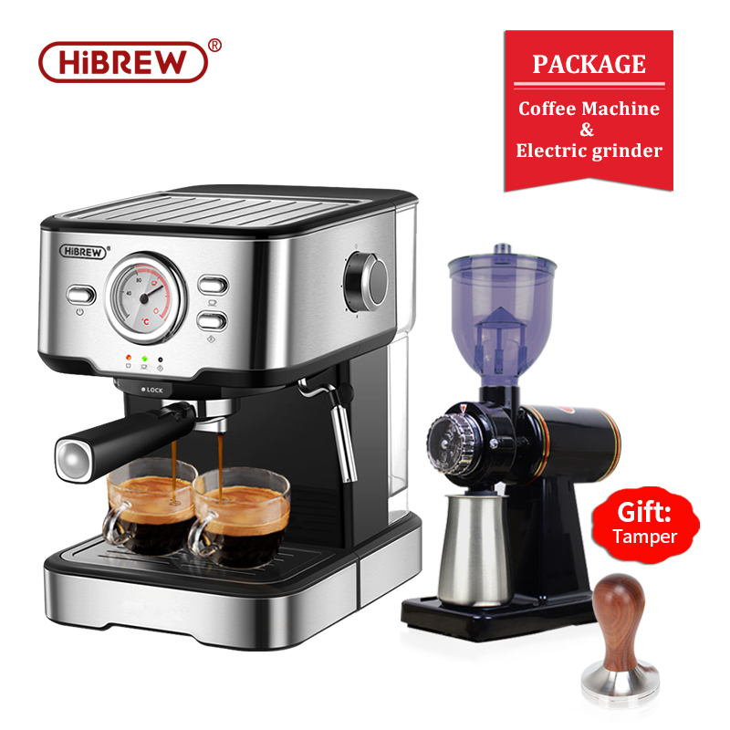 HiBREW 20 Bar Espresso Coffee Machine inox Semi Automatic Expresso Cappuccino Maker Steam Wand Hot Water Temperature Meter H5
