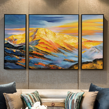 Jinshan hand-painted Oil Painting Abstract Modern American Living Room Background Wall Triple Decorative Painting Paintings Offi