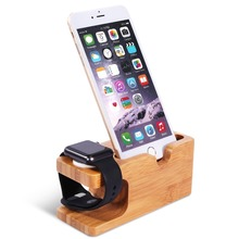 Bamboo Wood Charger Station Charging Dock Stand Holder for Apple Watch  IPhone 5s 6 Cradle