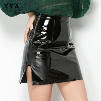 Female Sexy Split Push Up Wrap Skirt Genuine Leather Zipper Slim Fit Straight Skirts Women Fashion Punk High Waist Short Skirt