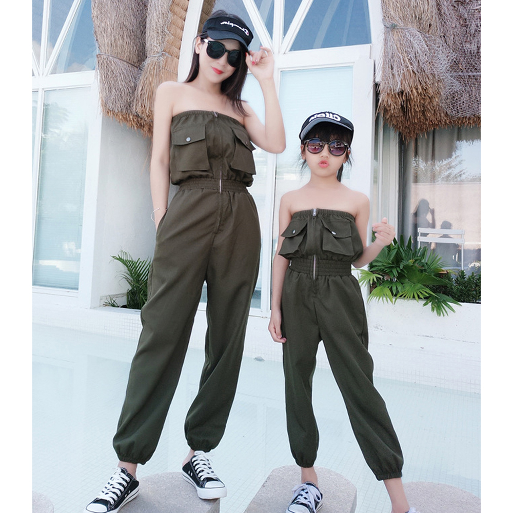 2020 New Mother Daughter Off Shoulder Rompers Family Matching Clothing Armygreen Pants Girl Sexy Spring Clothes