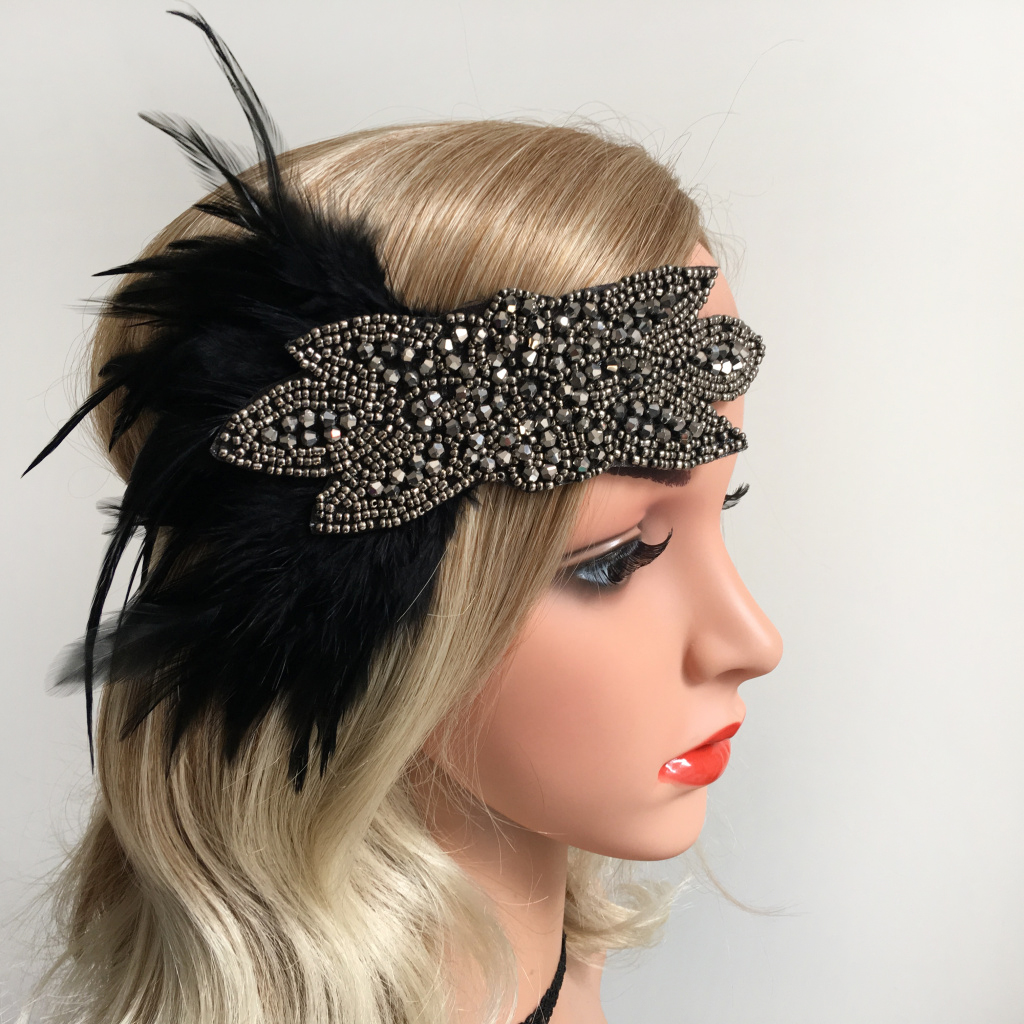 BLACK HEADPIECE FEATHER HEADBAND 1920s FANCY DRESS CHARLESTON BROW BAND FLAPPER