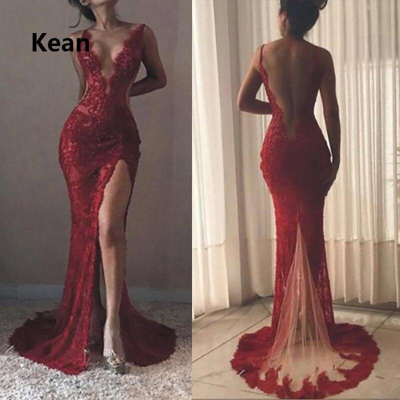Red Evening Dress Deep-V Neck Mermaid Slit Sequin Lace Vestidos Islamic Dubai Kaftan Saudi Arabic Evening Gown Prom Dress