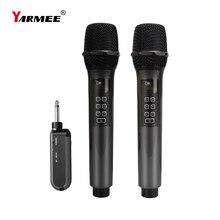 Yarnee – Microphone sans fil UHF à 2 canaux, micro portable professionnel pour fête de chant, karaoké, réunion de spectacle déglise