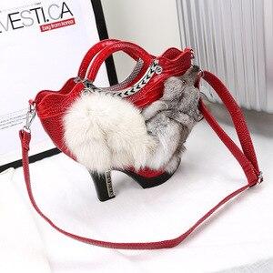 Autumn Winter Luxury Portable Female Bag High-heeled Shoes Bag Fox Hairy Bag Tide Women Banquet Fur Leisure Bags