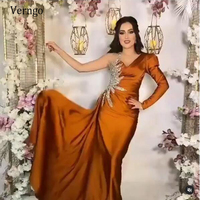 Verngo Verngo One Shoulder Mermaid Evening Dresses Long Sleeve Prom Gowns Satin Beads Crystal Formal Party Dresses 2021 Vestido