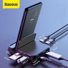 Baseus 7 in 1 USB C HUB Telefon Halter Typ C Docking Station für Huawei P40 Mate 30 Samsung S20 s9 zu USB 3,0 USB HUB Typ C HUB