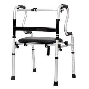 Image 3 - Os idosos desabilitados liga de alumínio dobrável passo ajuda dispositivo de linha para ajudar a implementar muleta haste quatro pés got up auxiliar walke